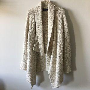 SOFT wool alpaca knit open high low duster sweater